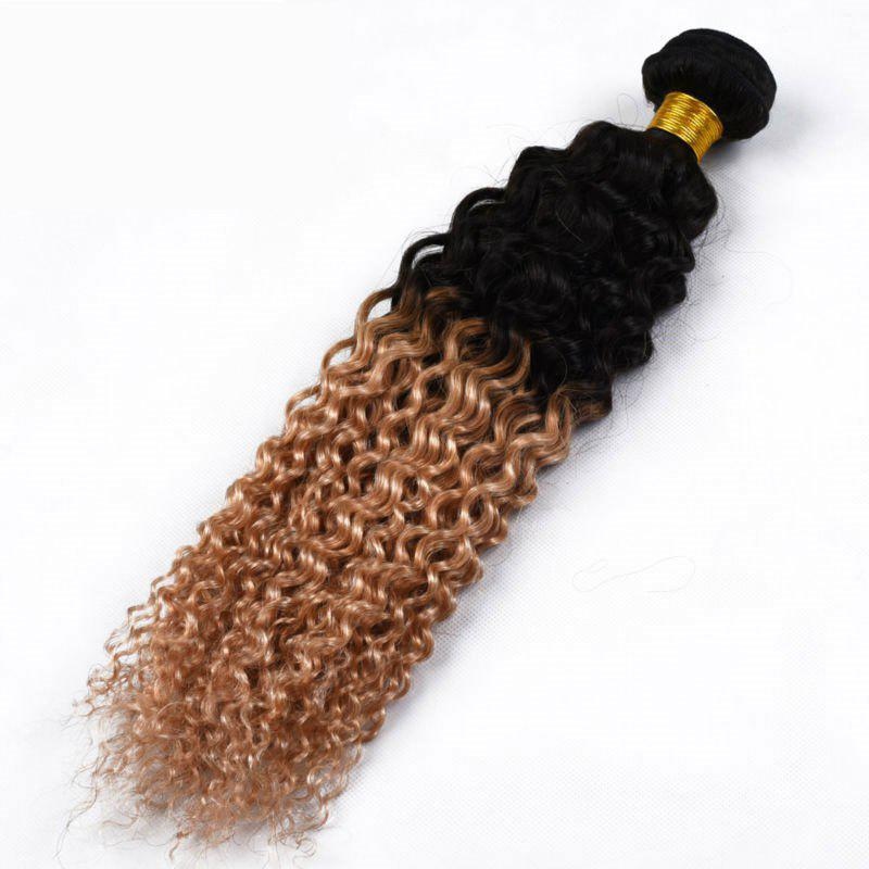 1 Piece/Lot 6A Virgin Hair Fluffy Kinky Curly Ombre Color Brazilian Hair Weaves