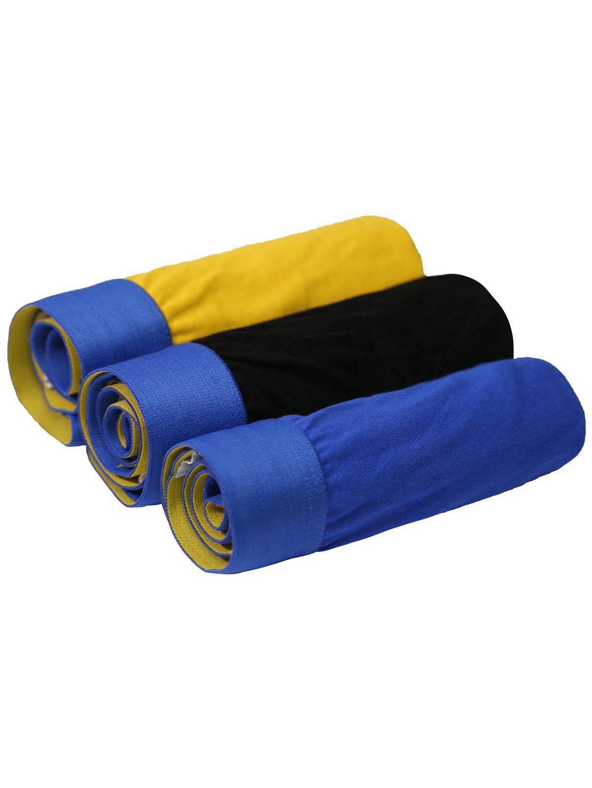 Cherlamode 3PCS U Convex Pouch Band Briefs - BLUE/YELLOW/BLACK XL