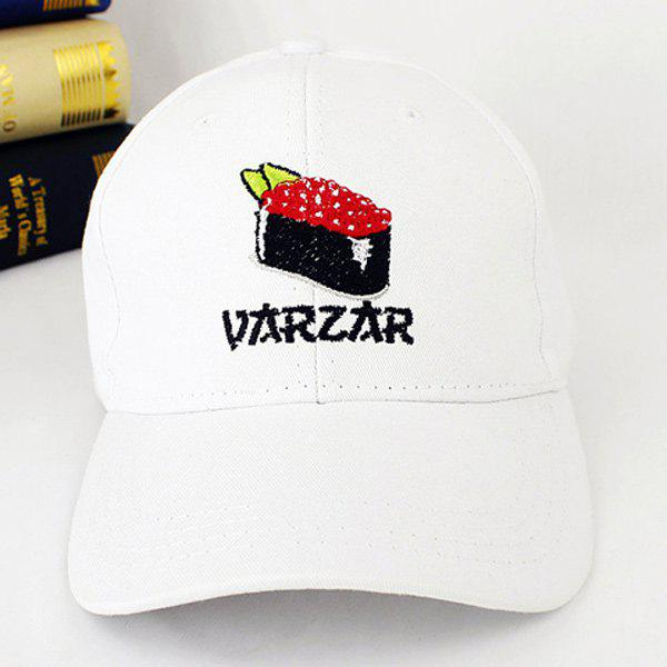 Outdoor Sunscreen Fish Eggs Sushi Embroidery Baseball Hat - WHITE