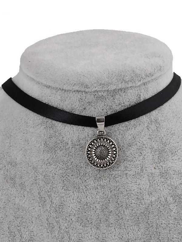 PU Leather Sunflower Pendant Choker