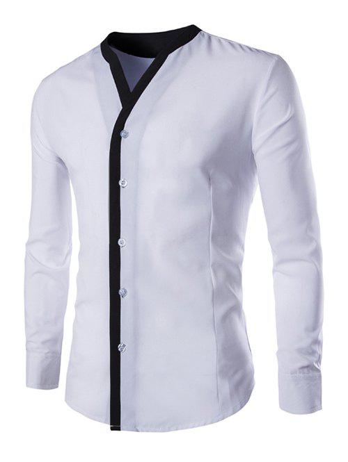 Long Sleeve Contrast Trim Casual Shirt - WHITE 3XL