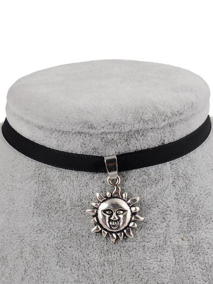 PU Leather Sun Shape Pendant Choker - BLACK