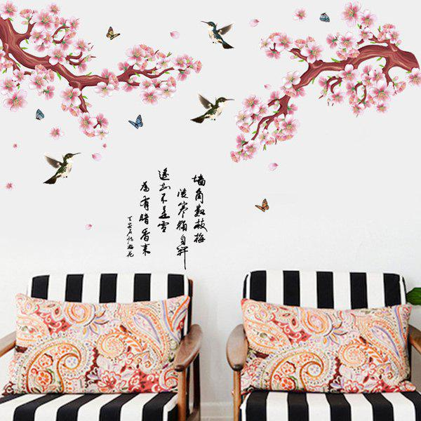 Plum Flower Bird Classical Poetry Chinese Style Removable Wall Sticker - COLORMIX