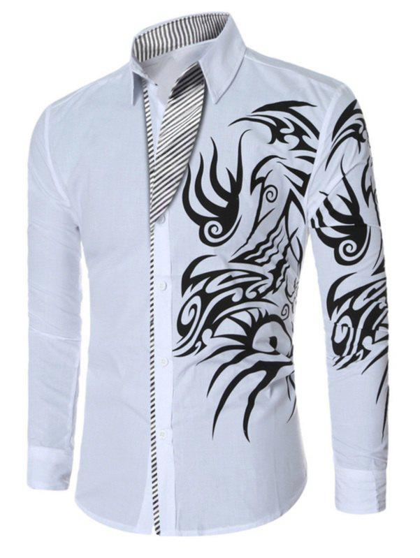 Totem Print Turn-down Collar Men's Long Sleeve Shirt - WHITE 4XL