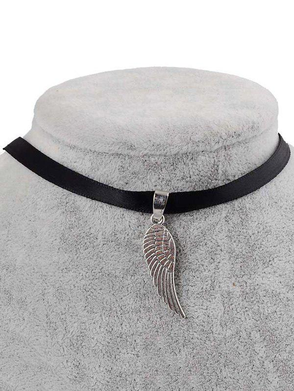 PU Leather Angel Wing Pendant Choker - BLACK