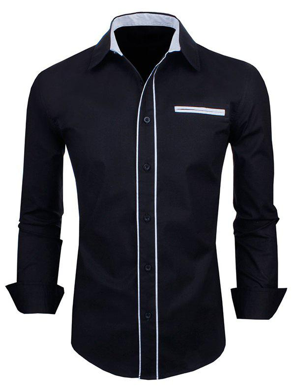 Long Sleeve Contrast Trim Double Welt Breast Pocket Shirt