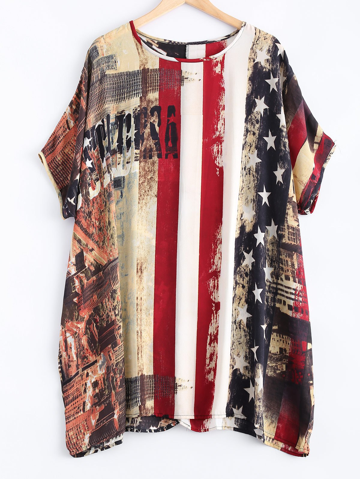 Flag Pattern Dolman Sleeves Chiffon Dress - COLORMIX ONE SIZE