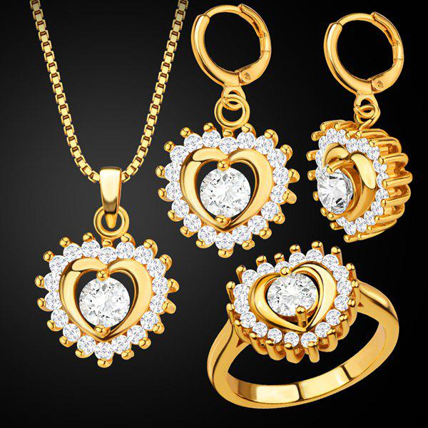 Rhinestone Heart Pendant Necklace Set - GOLDEN