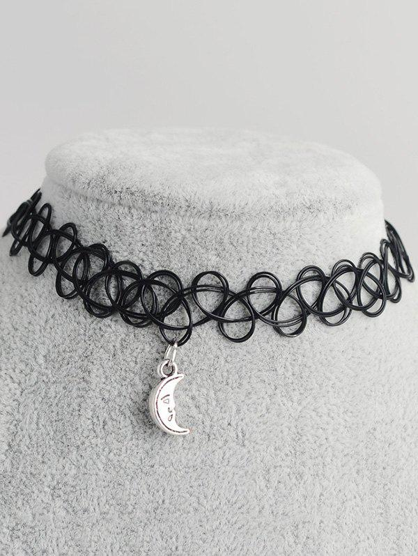 Moon Shape Hollow Out Tattoo ChokerJewelry<br><br><br>Color: BLACK