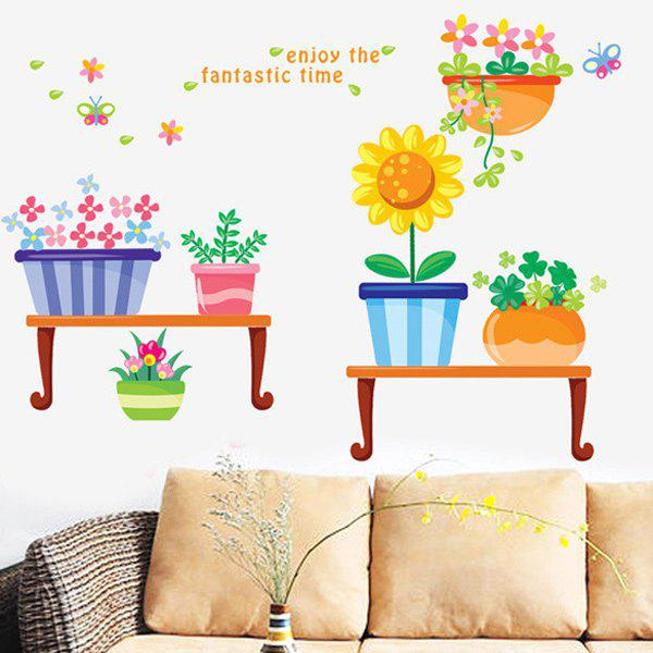 Novelty Cartoon Pastoral Potted Removable Wall Art Sticker