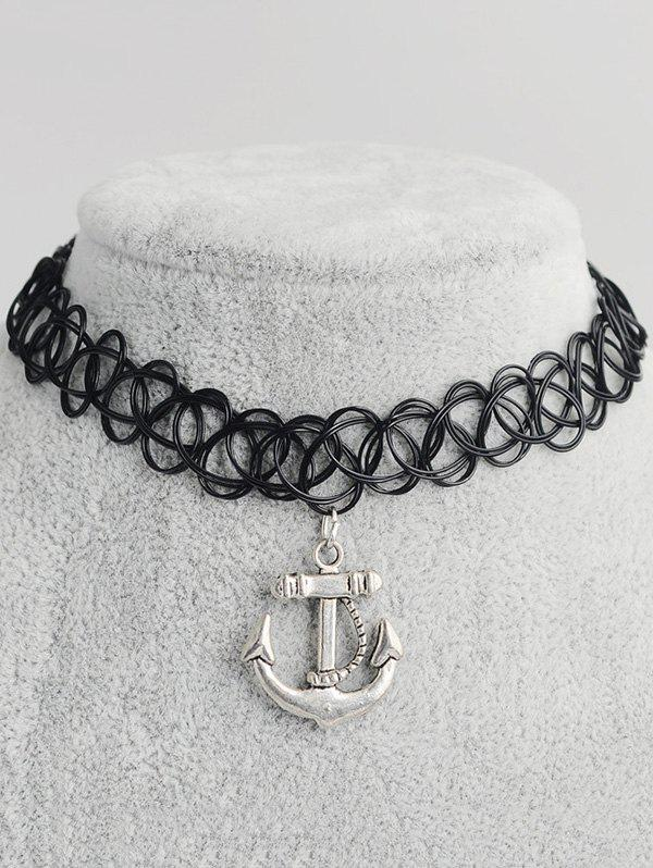 Anchor Shape Hollow Out Tattoo Choker - BLACK
