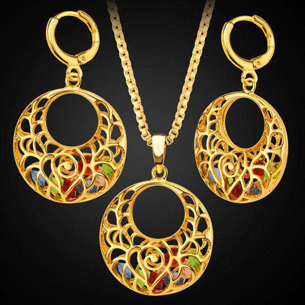 Cut Out Round Stone Pendant Necklace Set - GOLDEN