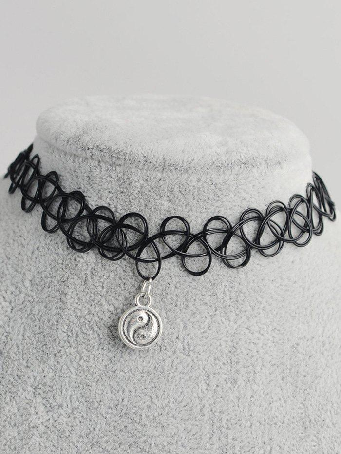 Tai Ji Circle Shape Hollow Out Tattoo Choker