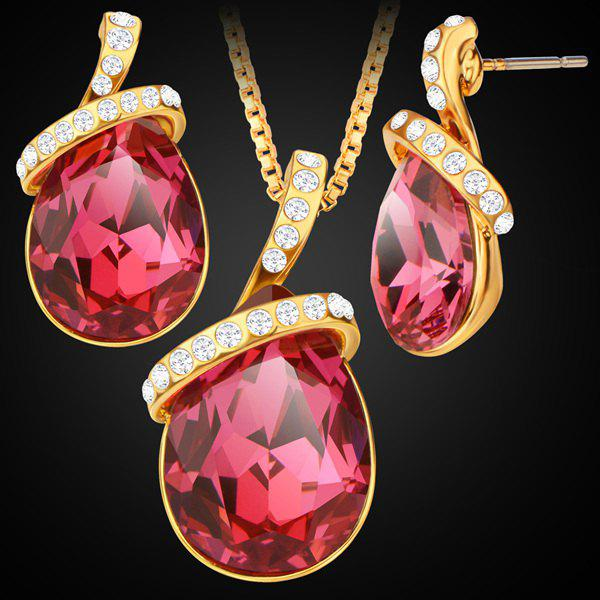 Rhinestone Faux Gem Teardrop Pendant Necklace Set - RED