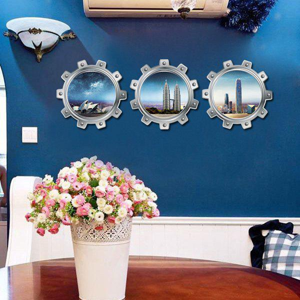 3pcs 3D Stereoscopic Submarine Simulation Window City Wall Sticker - COLORMIX