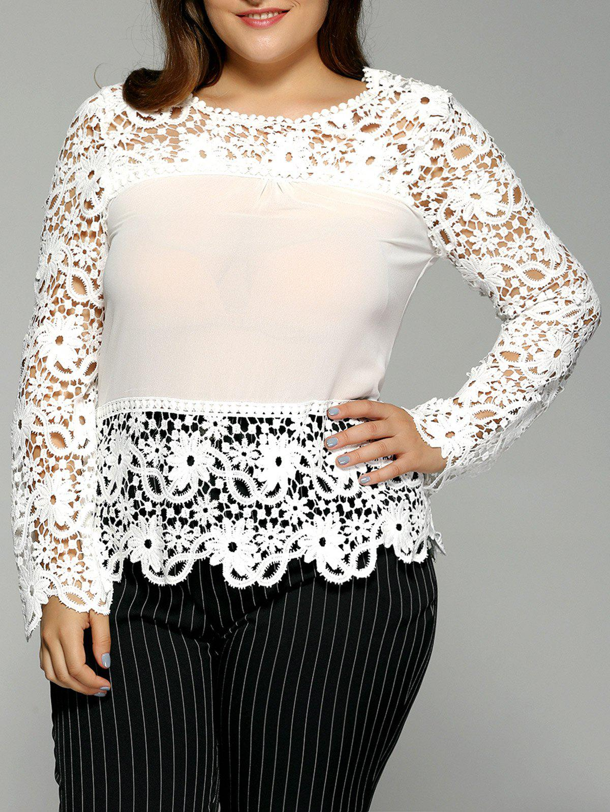 Plus Size Spliced Crochet Openwork Blouse - WHITE 3XL