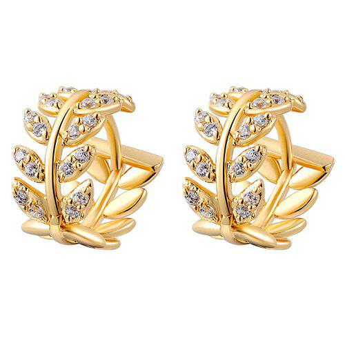 Pair of Rhinestone Leaf Hollow Out Hoop Earrings - GOLDEN