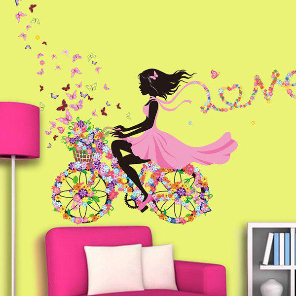 Hot Sale Colorful Mariposa Floats Flower Elf Girl Removable Wall Sticker - COLORMIX