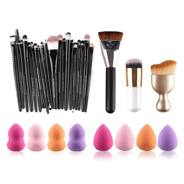 20 Pcs Makeup Brushes Set + 8 Pcs Makeup Sponge + S-Shape Blush Brush + Contour Brush + Foundation Brush - COLORMIX
