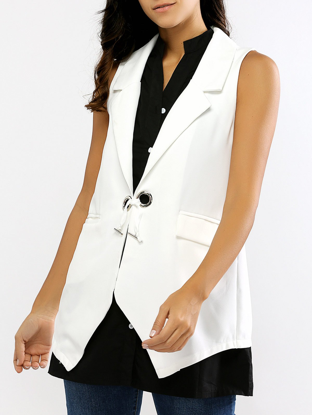 V Neck Sleeveless Blouse and Waistcoat - WHITE/BLACK ONE SIZE
