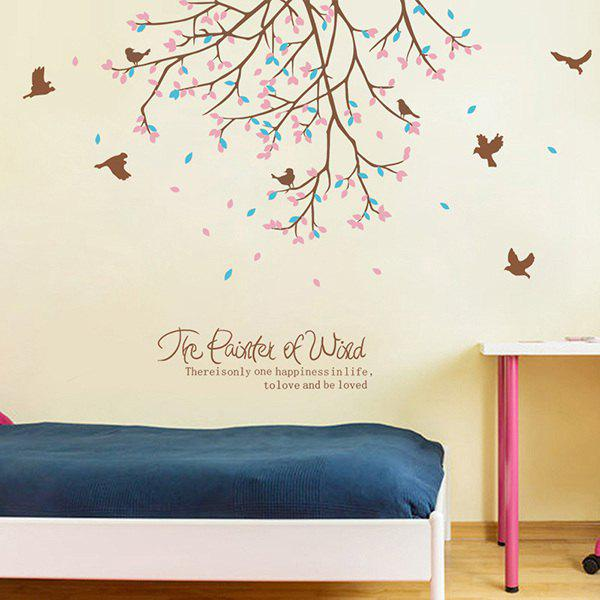Spring Bird Tree English Quote Living Room Wall Sticker - PINK