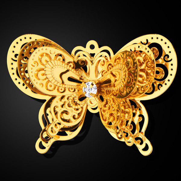 Rhinestone Cut Out Layered Butterfly Brooch - GOLDEN