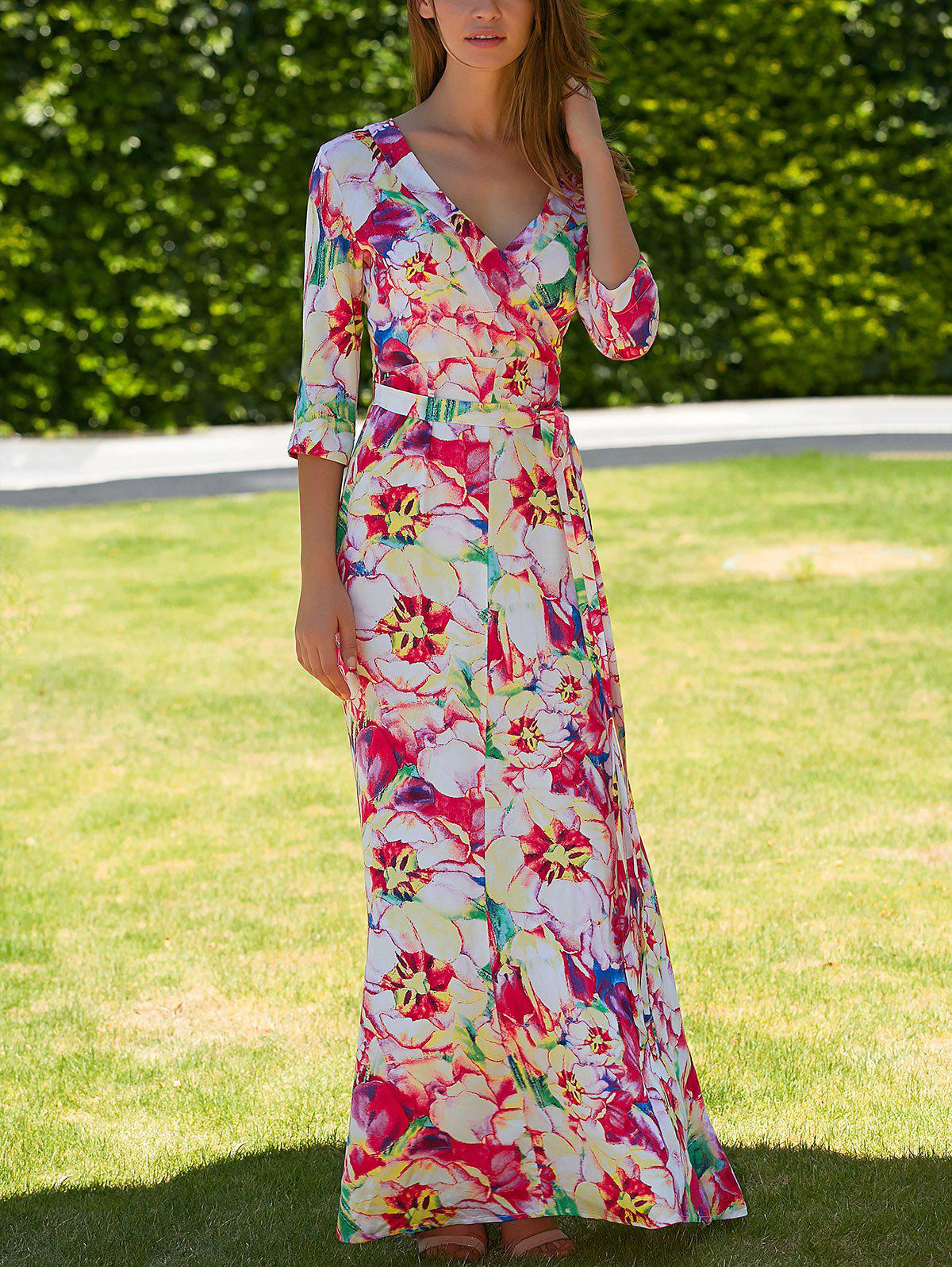 Plunging Neck Floral Wrap Dress - COLORMIX XL