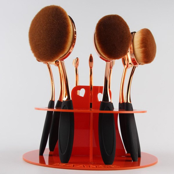 Cosmetic Round Brushtree Brush Holder pinceau de maquillage stand - Rose Rouge