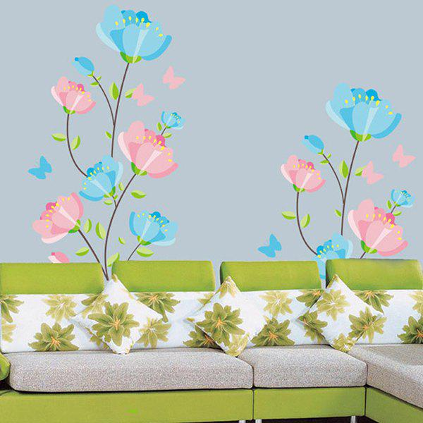 Blue and Pink Flowers High Quality Removable Decorative Wall Art Sticker - COLORMIX