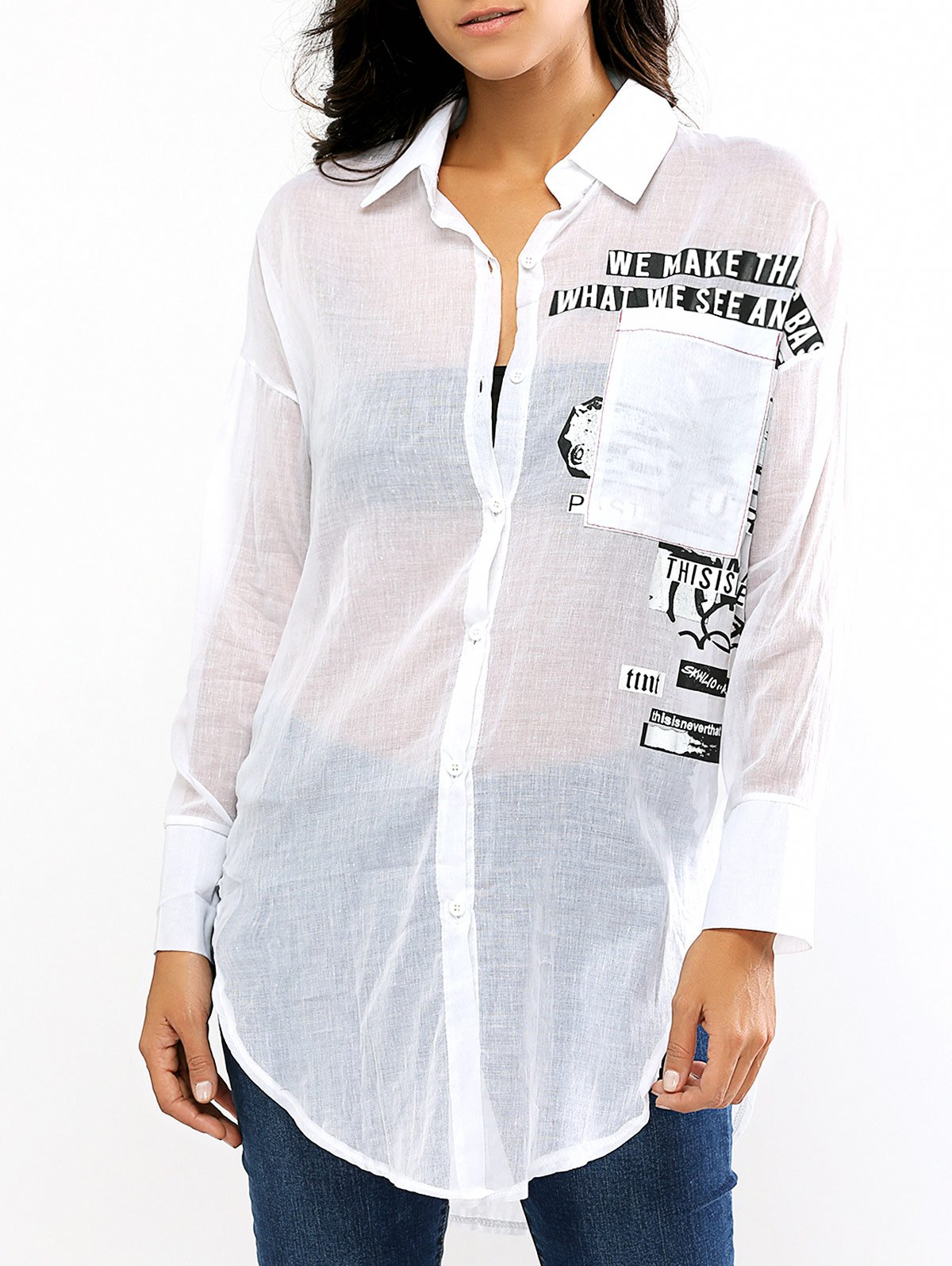 See-Through Long Sleeve Thin Shirt - WHITE ONE SIZE