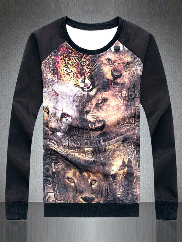 Crew Neck 3D Animal Print Long Raglan Sleeve Sweatshirt - BLACK 5XL