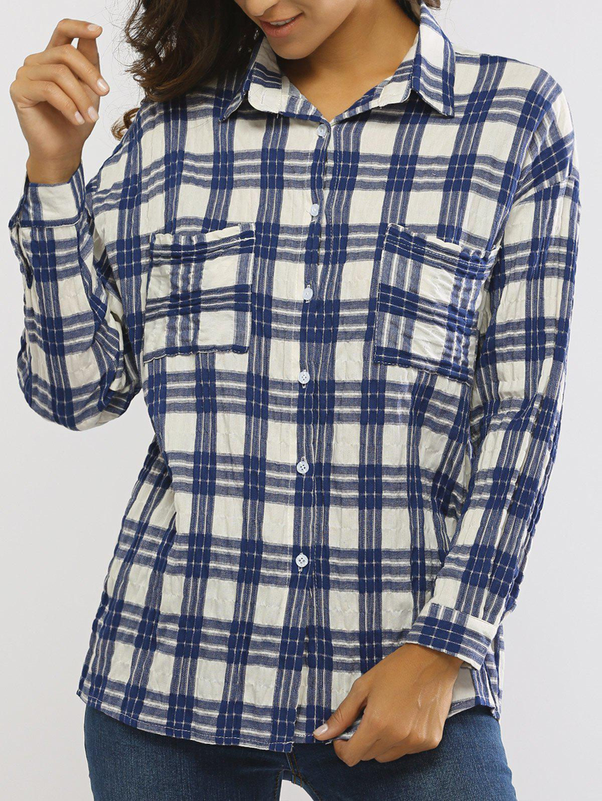 Boyfrined Plaid Long Sleeve Shirt
