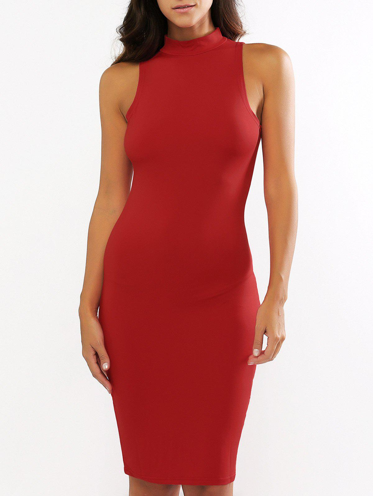 Stand Collar Sleeveless Bodycon Knee Length Dress - RED XL