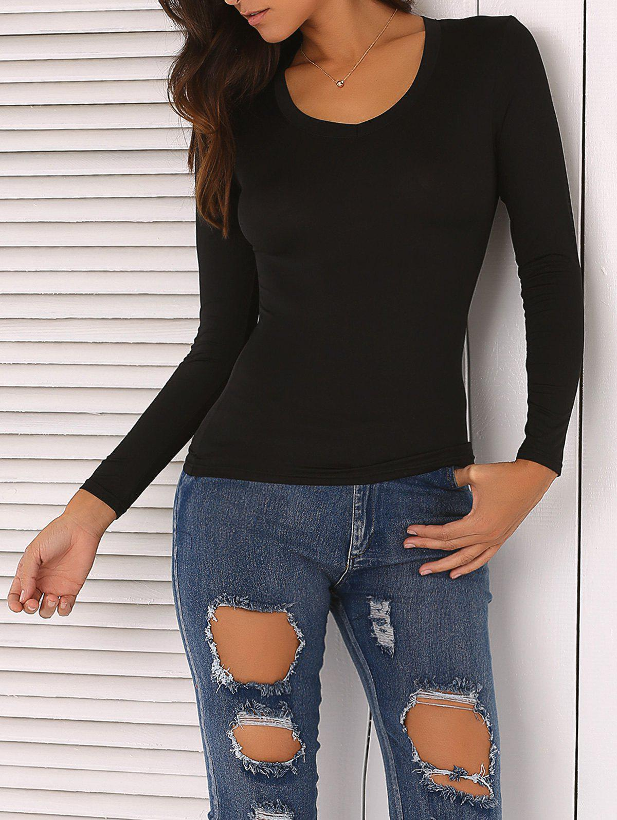 Solid Color Skinny Slimming T-Shirt - BLACK XL