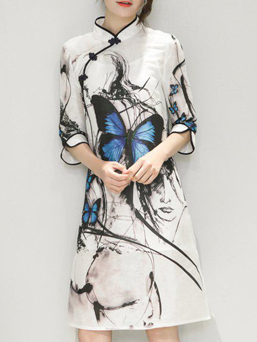 Butterfly Pattern Ink-Painting Cheongsam Dress - WHITE 2XL