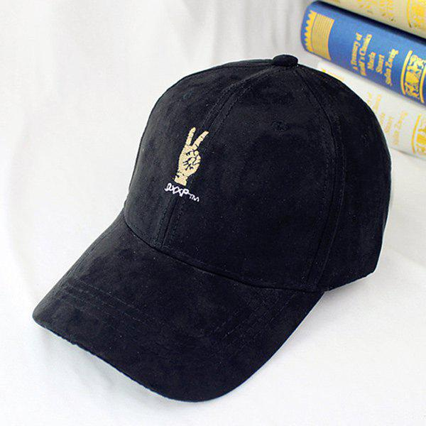 Outdoor Sunscreen Victory Gesture Embroidery Faux Suede Baseball Hat - BLACK