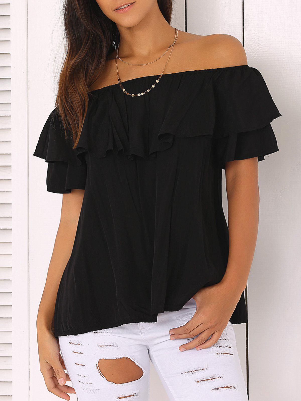 Off The Shoulder Loose-Fitting Flounce Blouse