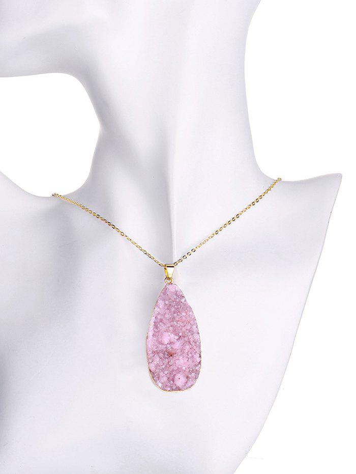 Natural Shape Crystal Pendant Necklace - PURPLISH RED