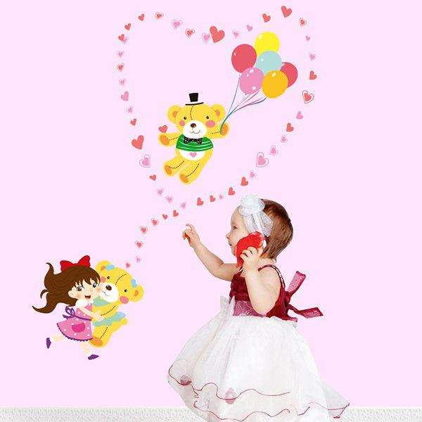 Cartoon Cute Girl and Bear Removable Decorative Wall Art Sticker