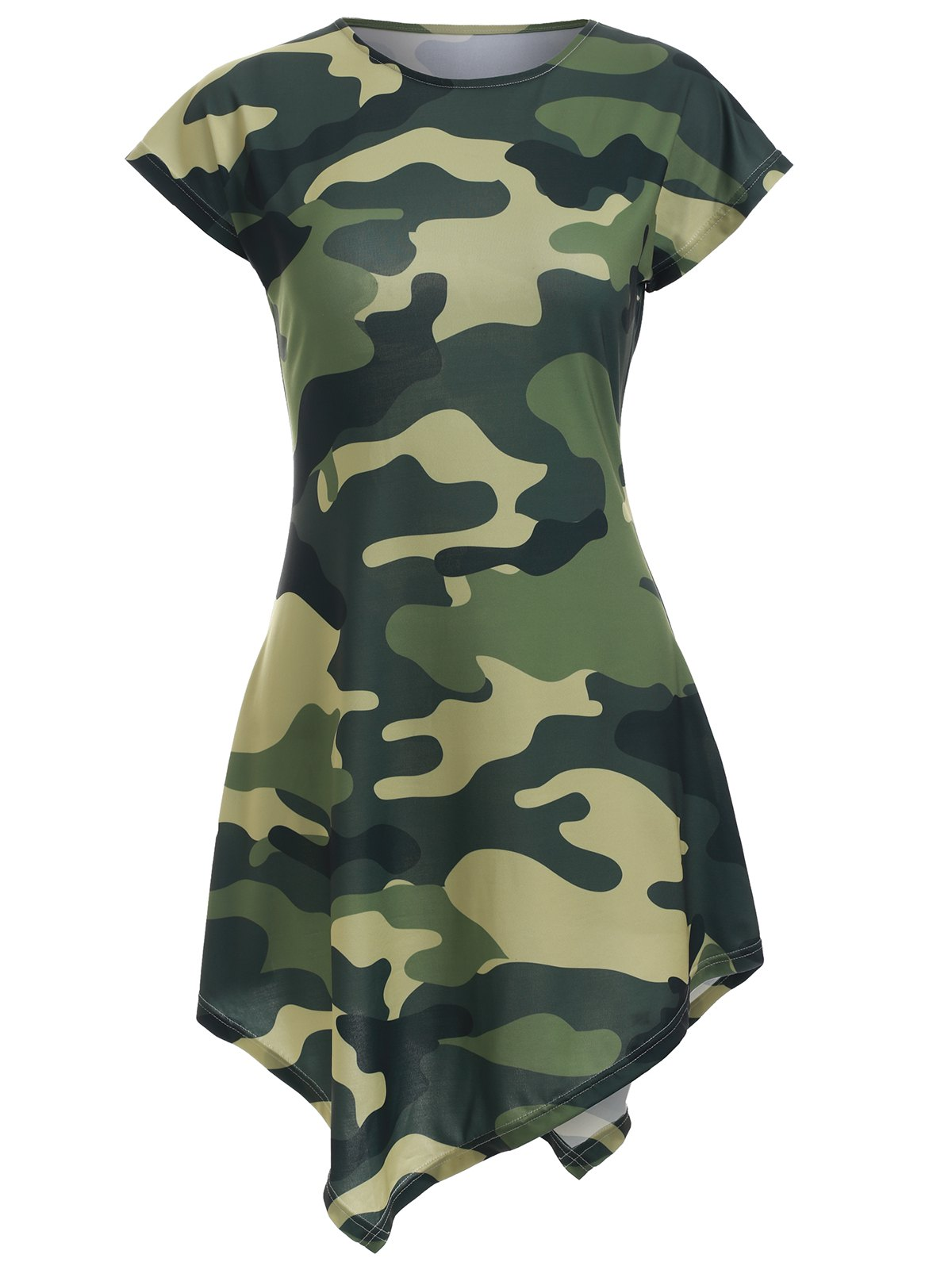 Camo Print Asymmetric Mini Dress - CAMOUFLAGE XL