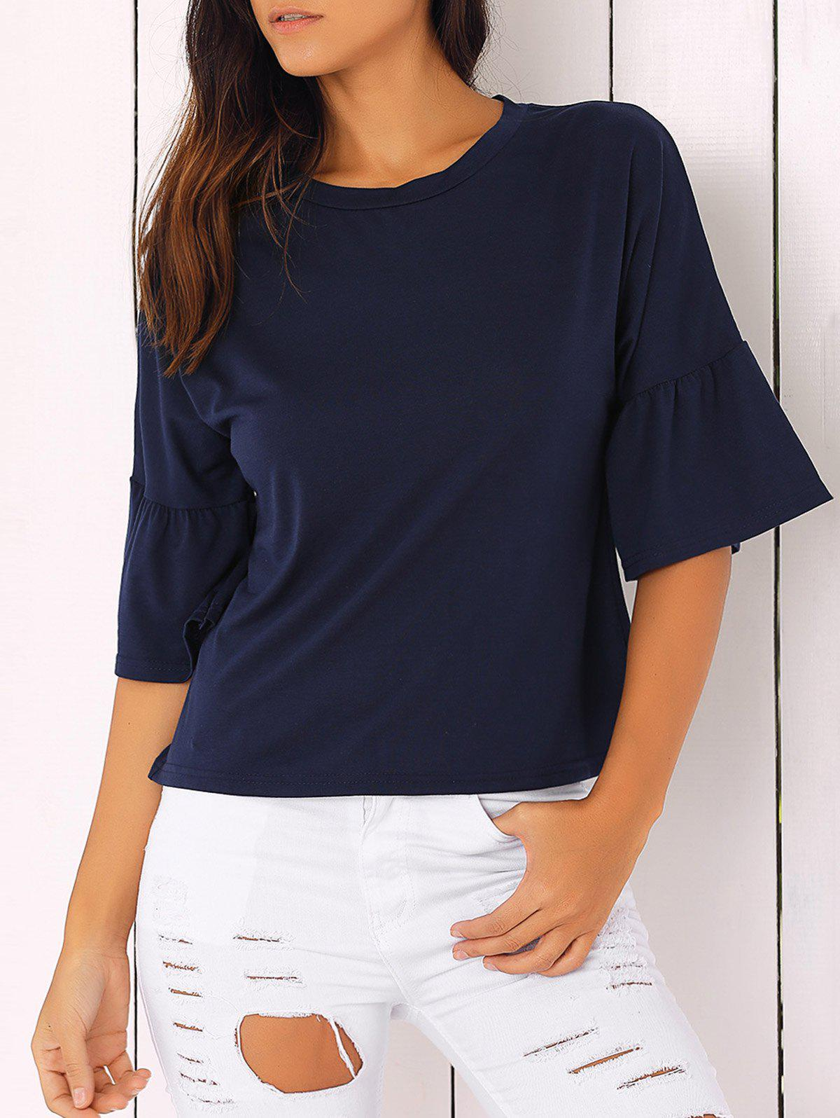 Bell Sleeve Solid Color T-Shirt - PURPLISH BLUE L