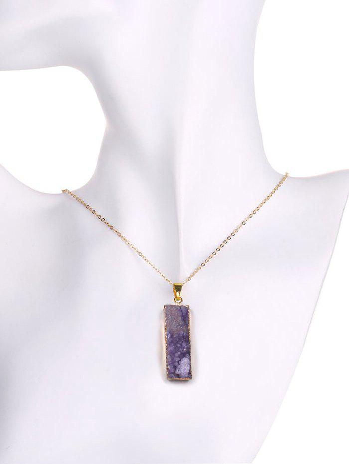 Natural Shape Amethyst Geometric Pendant Necklace - PURPLE