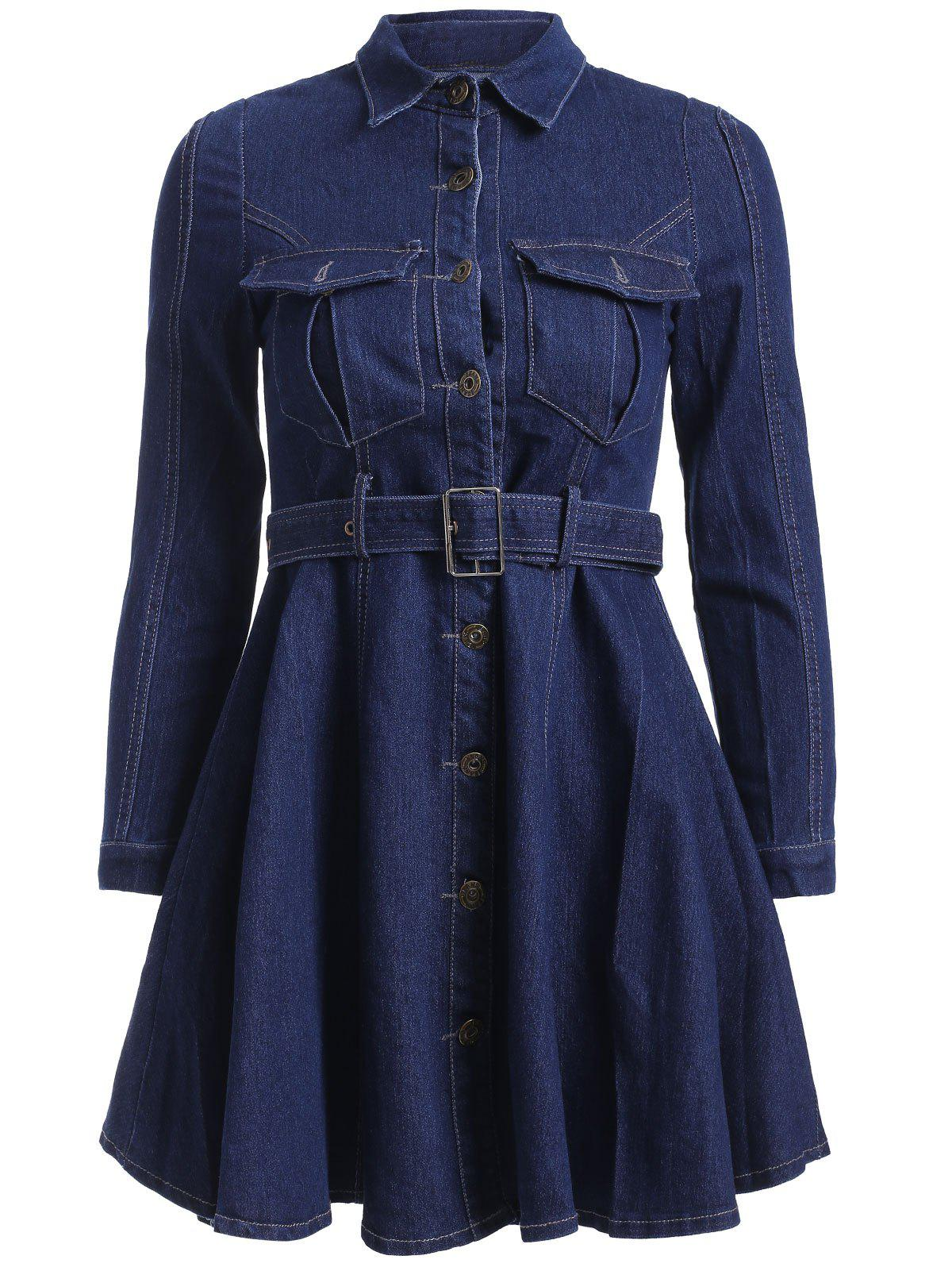 Long Sleeve Front Pockets Denim Shirt Dress - DENIM BLUE XL