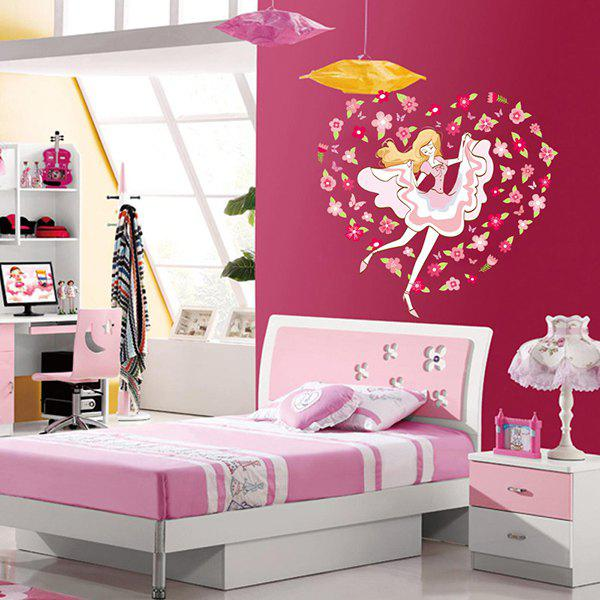 Novelty DIY Flower Girl Removable Anti-Fouling Wall Sticker - COLORMIX