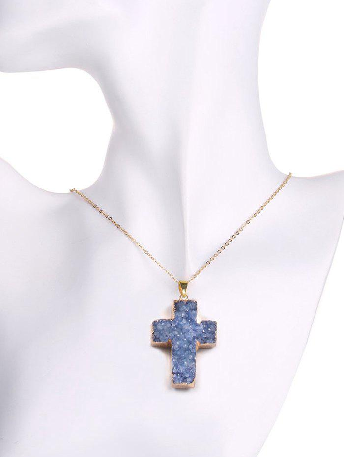 Natural Shape Crystal Cross Pendant Necklace - BLUE