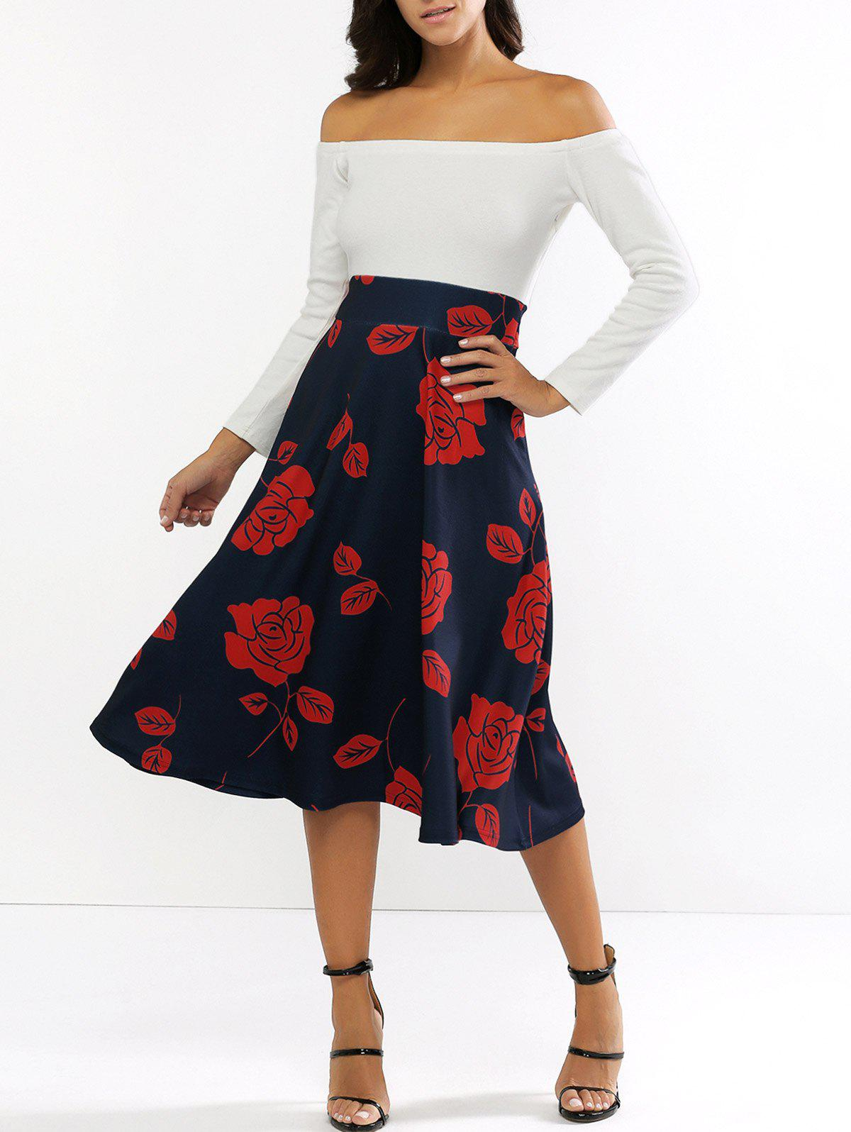 Long Sleeve Off The Shoulder Floral Print Midi Dress - WHITE 2XL