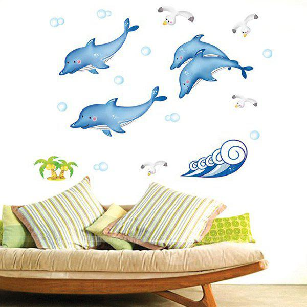 Novelty Cartoon Spindrift Whale Removable Glass Wall Sticker - COLORMIX