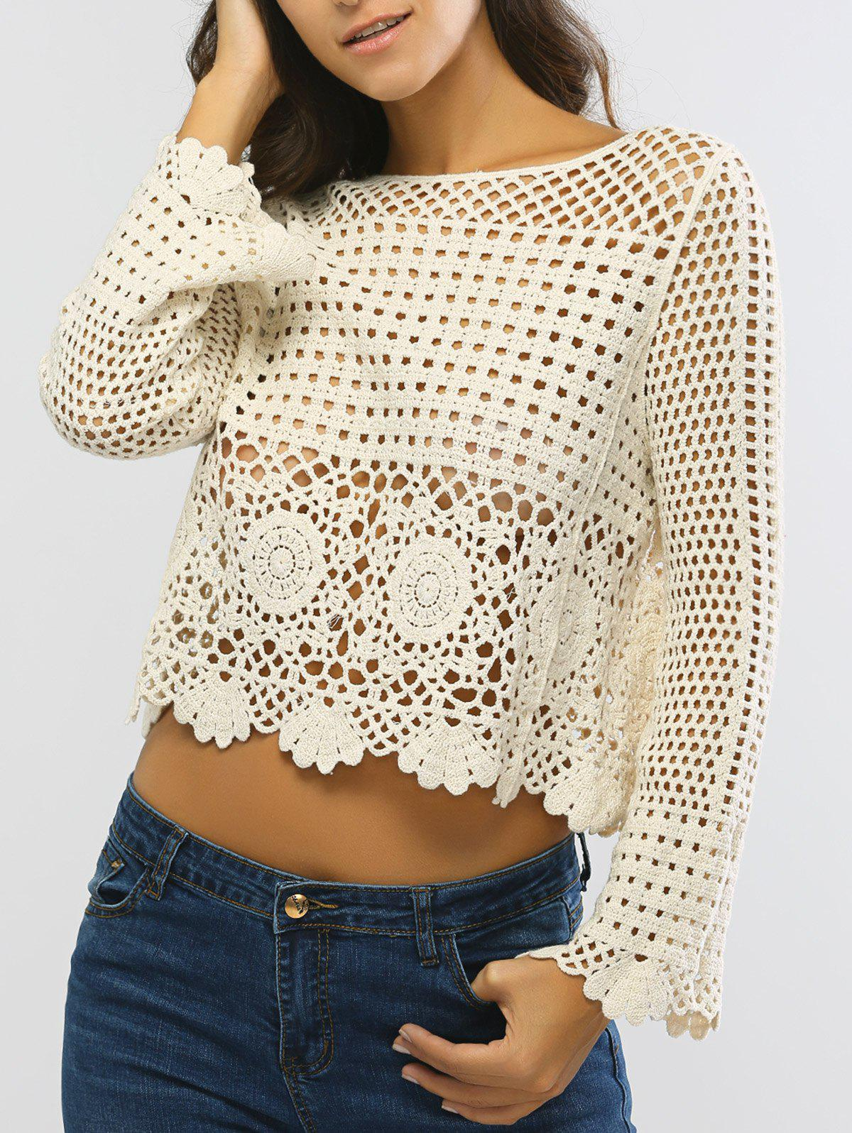 Laciness Hollow Out Cropped Knitted Top - BEIGE ONE SIZE