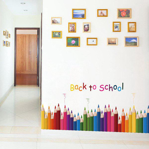 Back To School Colorful Pencil Removable Wall Sticker - COLORFUL