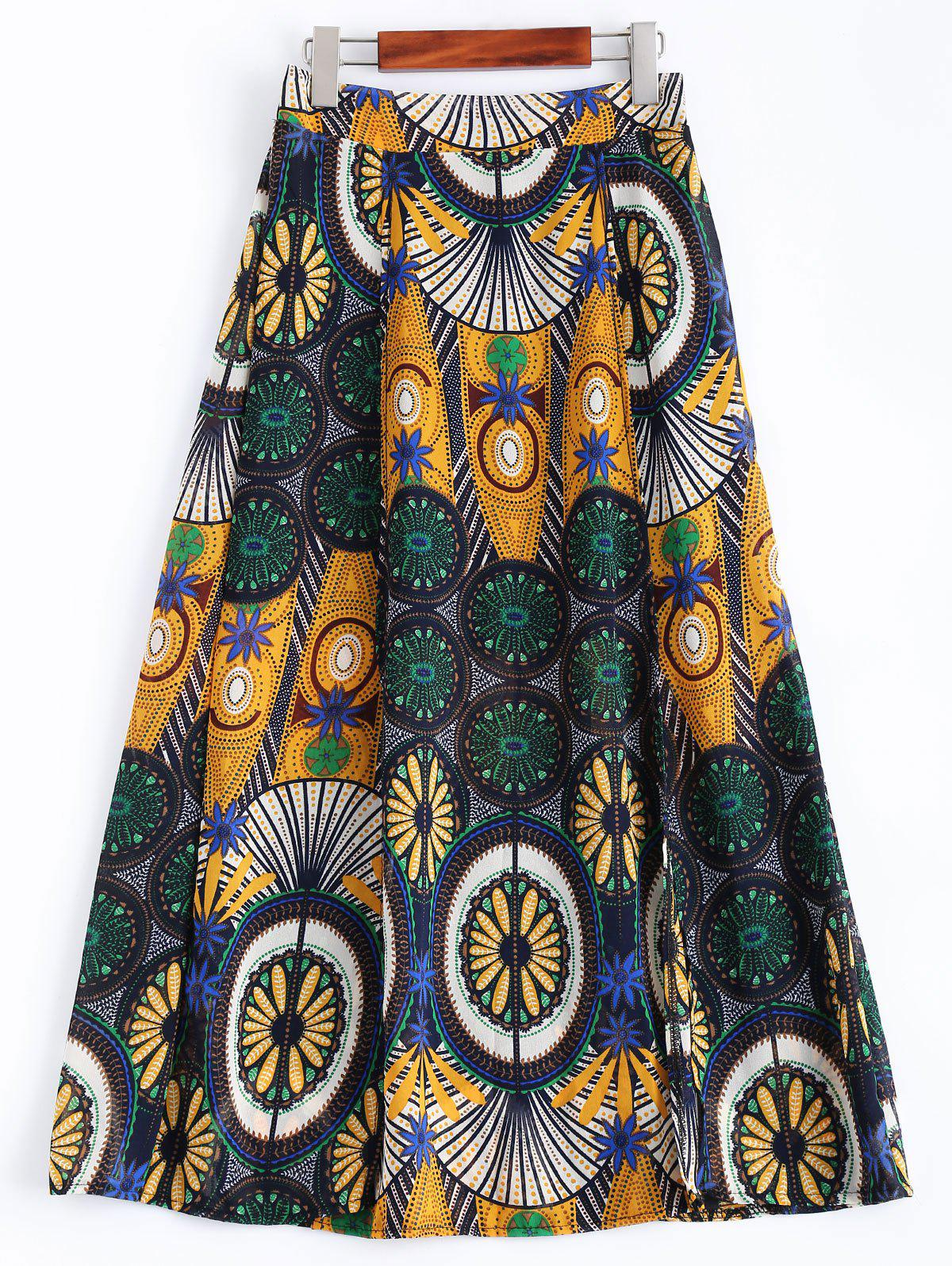 High-Waisted Ornate Printed Skirt - COLORMIX ONE SIZE